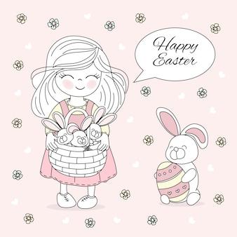 Easter friend holiday vector illustration set