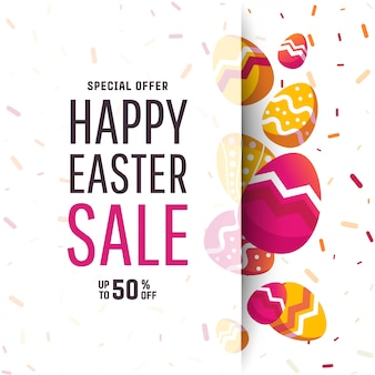 Easter geometric background with colorful egg.
