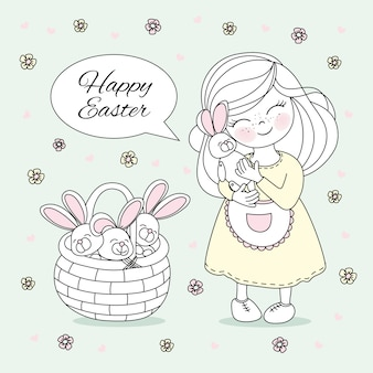 Easter girl great religious holiday vector illustration set