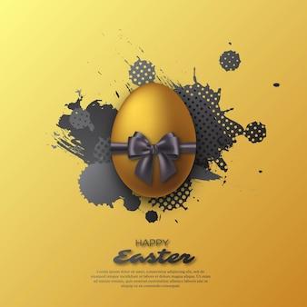リアルな弓と水彩のスプラッシュとイースターの黄金の卵。抽象的な休日。