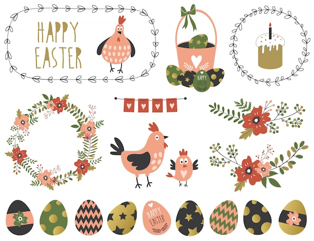 Easter graphic elements.