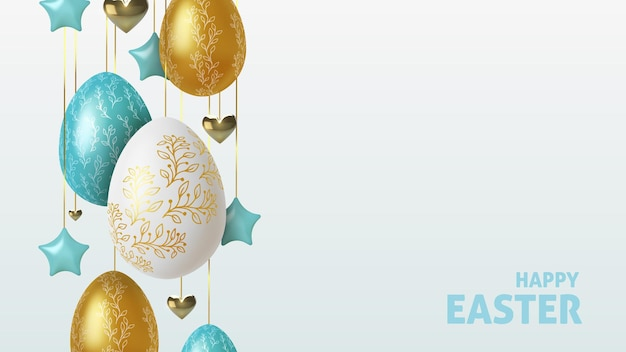 Easter greeting background with realistic golden, blue and white easter eggs.