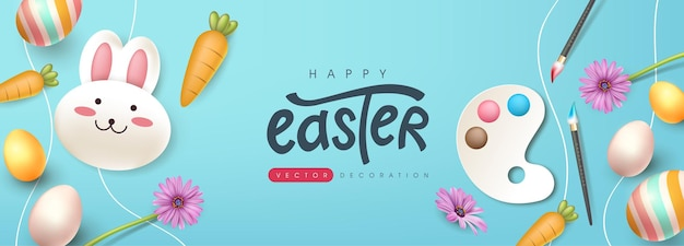 かわいいウサギと色のイースターエッグとイースターグリーティングカードの背景。