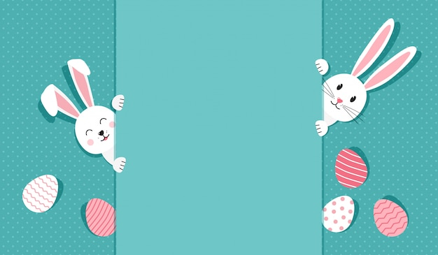 Easter greeting card with bunnies and eggs, illustration