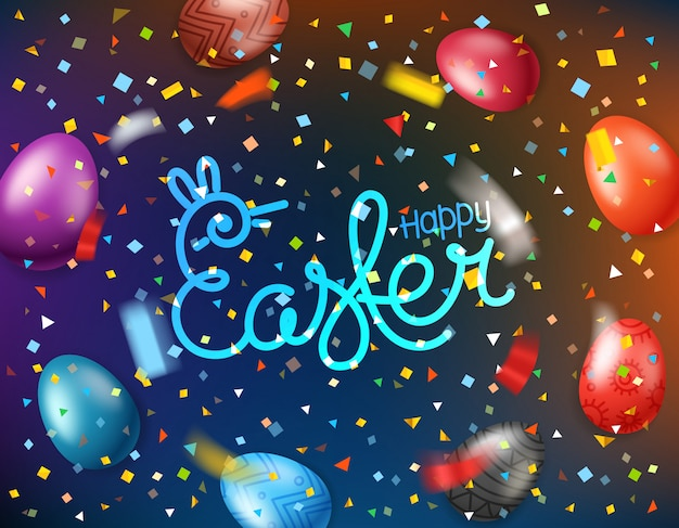 Easter greeting card with color eggs and falling confetti