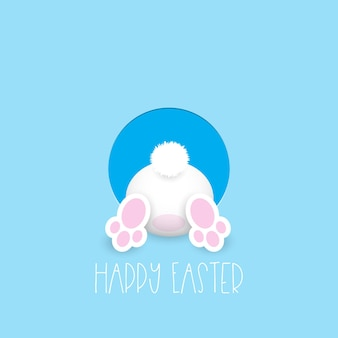 Easter greeting card with cute easter bunny going in a hole