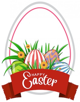 Easter greeting card with decorated eggs and flowers