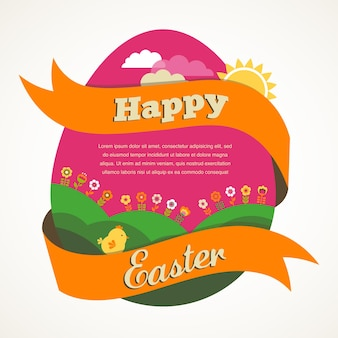 Easter greeting card with egg, ribbon and landscape
