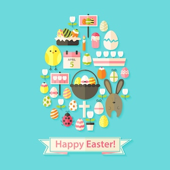 Easter greeting card with flat icons egg shaped. greeting card flat styled with shadows