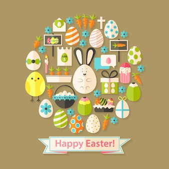 Easter greeting card with flat icons set circular shaped. greeting card flat styled with shadows