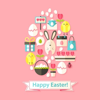 Easter greeting card with flat icons set egg shaped. greeting card flat styled with shadows