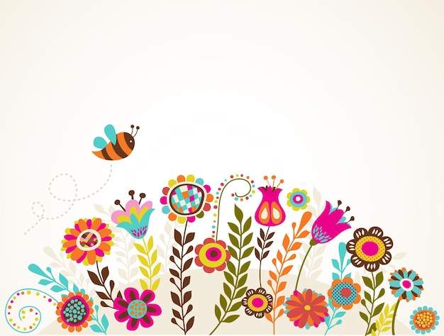 花とイースターのグリーティングカード