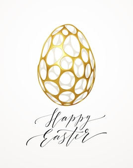 Easter greeting card with an image of an easter egg in a golden organic realistic 3d grid pattern. jewelry decoration. luxury ornament. vector illustration eps10