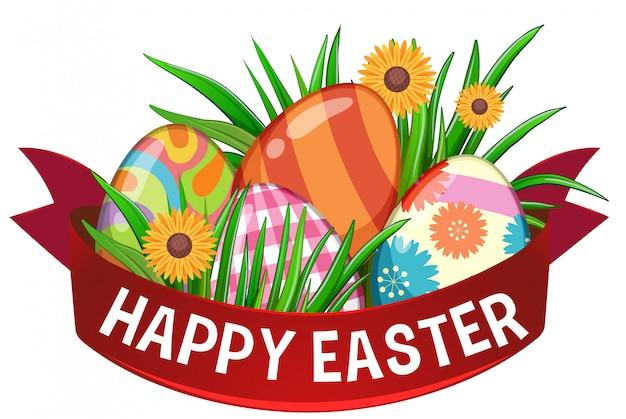 Пасхальная открытка с крашеными яйцами и красной лентой