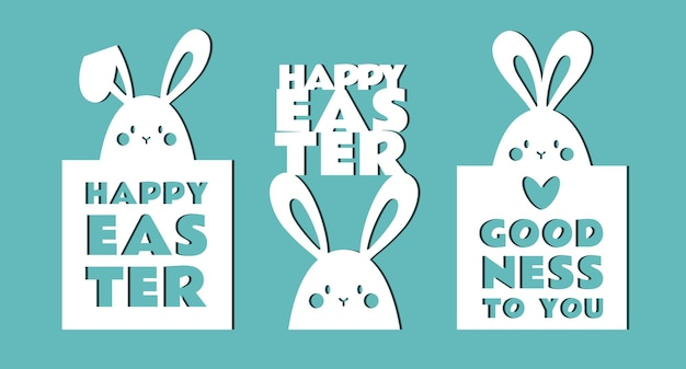 Easter greeting cards with bunnies.templates for cutting.