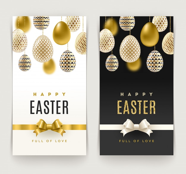 Easter greeting cards with eggs decorated with gold pattern.   illustration.