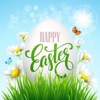 Lettering di auguri di pasqua. uova e fiori. illustrazione di vettore eps10