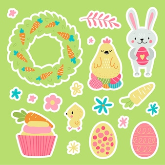 Easter greeting stickers with bunny. vector illustration. set of cute cartoon characters and design elements.