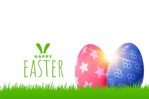 Easter greeting with colored eggs on grass