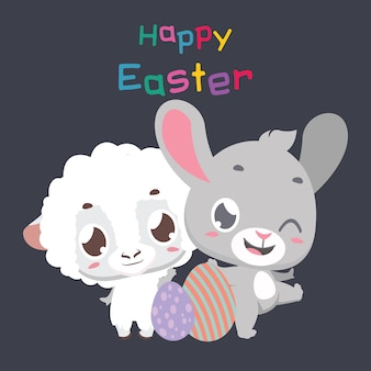 Easter greeting with cute bunny and sheep