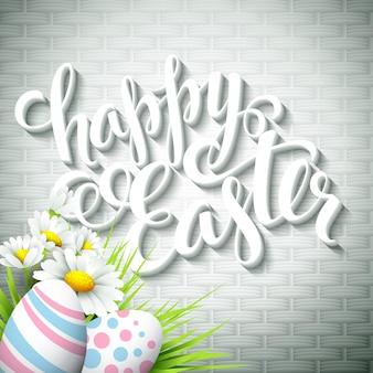 Saluto di pasqua con uova e fiori