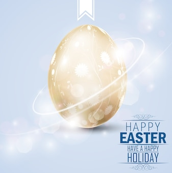 Easter greetings card with golden egg on lights background
