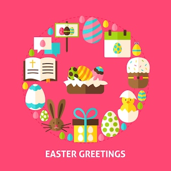 Easter greetings postcard. poster design vector illustration. collection of spring holiday objects.