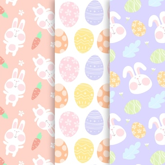 Easter hand drawn pattern with eggs and bunny