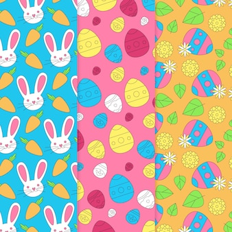 Easter hand drawn pattern with eggs
