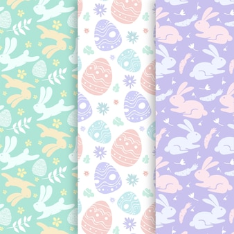 Easter hand drawn pattern with pastel-coloured design