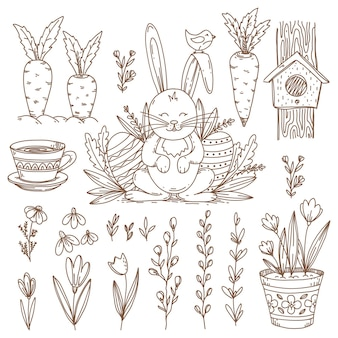Easter hand drawn   symbols and objects