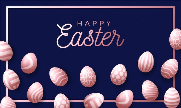 Easter holiday background with rose gold