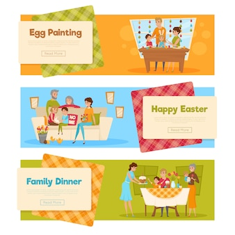 Easter holiday banners set