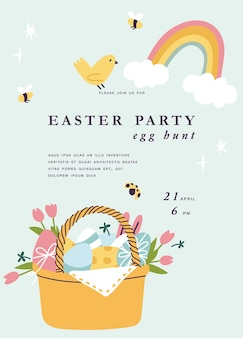 Easter holiday. beautiful flowers bouquet with easter cake and painting eggs inside basket. template