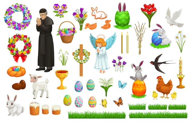 Easter holiday characters, icons and symbols