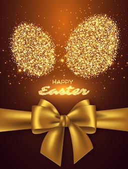 반짝이 계란과 현실적인 황금 활과 부활절 휴가 디자인.