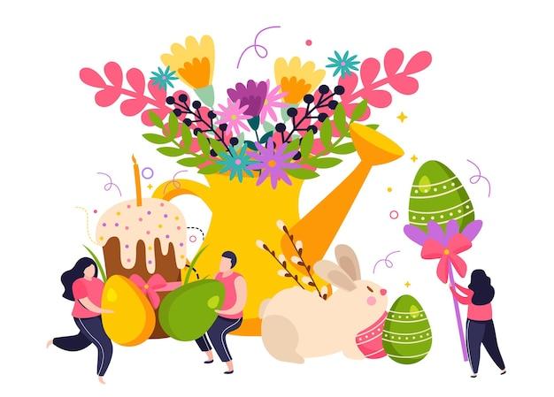 Плоская иллюстрация праздника пасхи с крашеными яйцами, цветами и тортом