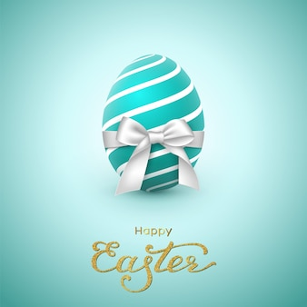 Easter holiday greeting card. glitter lettering, realistic egg with white bow.