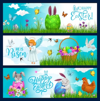 Easter holiday hunting eggs, bunny and flowers in wicker basket banners