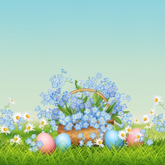 Easter holiday illustration. spring landscape with wicker basket, eggs and flowers in grass