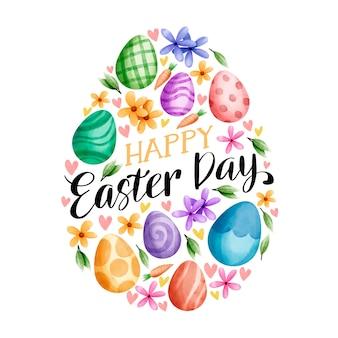 Пасхальный праздник акварель и большое яйцо