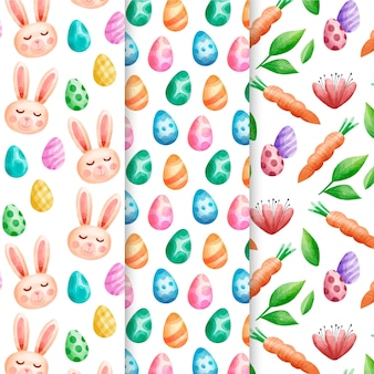 Easter holiday watercolor pattern set with bunny avatars