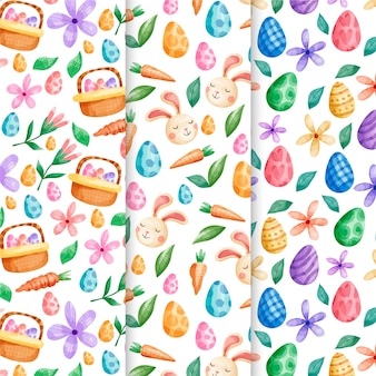 Easter holiday watercolor pattern set with eggs and flowers