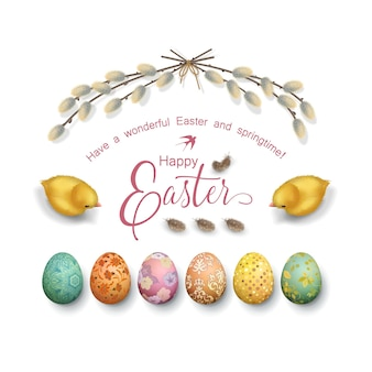 Easter holiday with painted eggs, chickens and willow branches