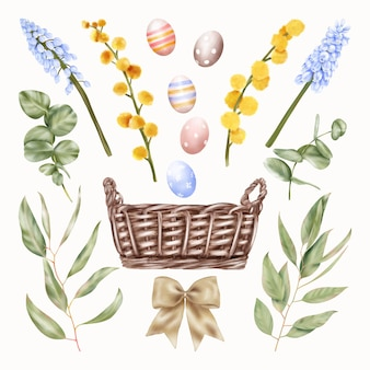 Easter holidays basket with blue and yellow flowers, eggs