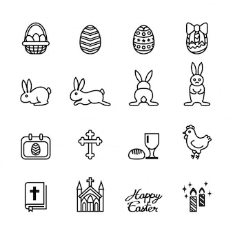Easter icons set on white background.