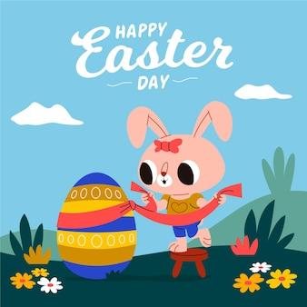 Пасхальная иллюстрация с кроликом и яйцом