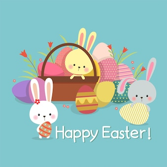 Easter illustration with colored eggs and cute bunnies on spring background