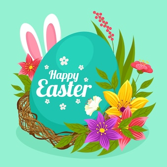 Пасхальная иллюстрация с яйцом и ушками кролика