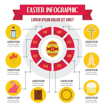 Easter infographic concept, flat style